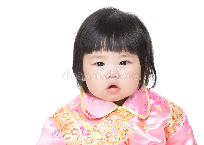 Chinees geïsoleerd babymeisje royalty-vrije stock foto