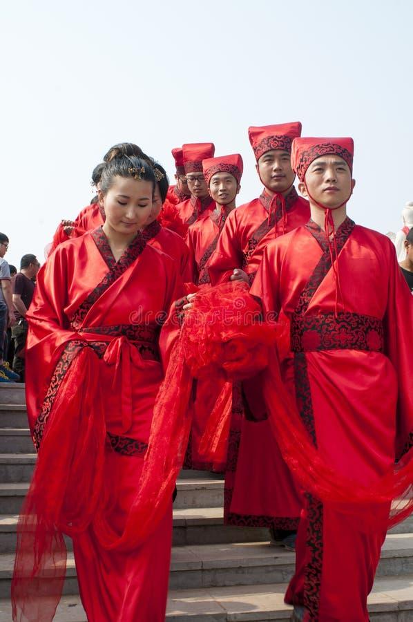 Chinees han-Stijl massahuwelijk stock foto's