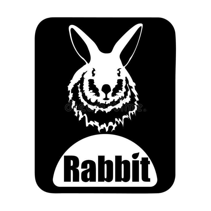 Chinees het konijnhoofd van kalender dierlijk zwart-wit logotype stock illustratie