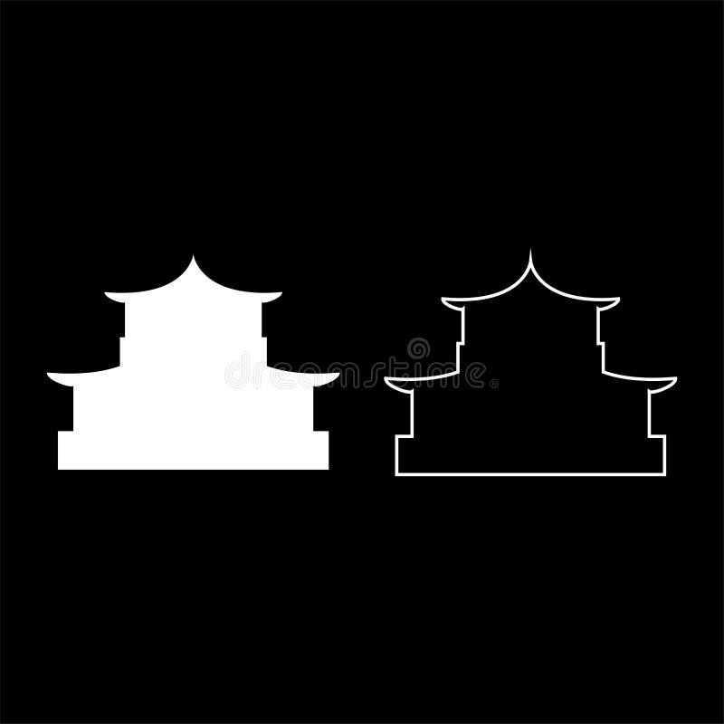 Chinees huissilhouet Traditionele Aziatische pagode Japanse kathedraal van de Voorzijde van de kathedraal het overzicht plaatste  vector illustratie