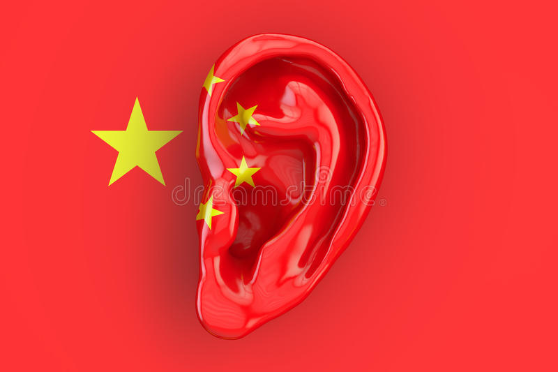 Chinees intelligentieconcept, oor op de vlag van China 3D rende stock illustratie