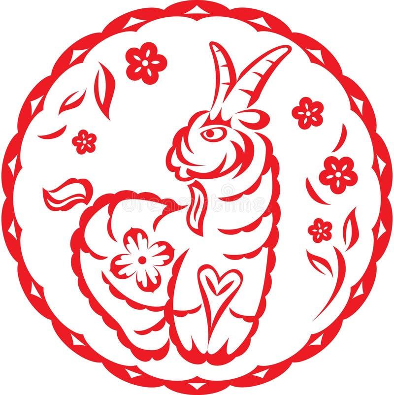 Chinees jaar van het Lam van Schapen royalty-vrije illustratie