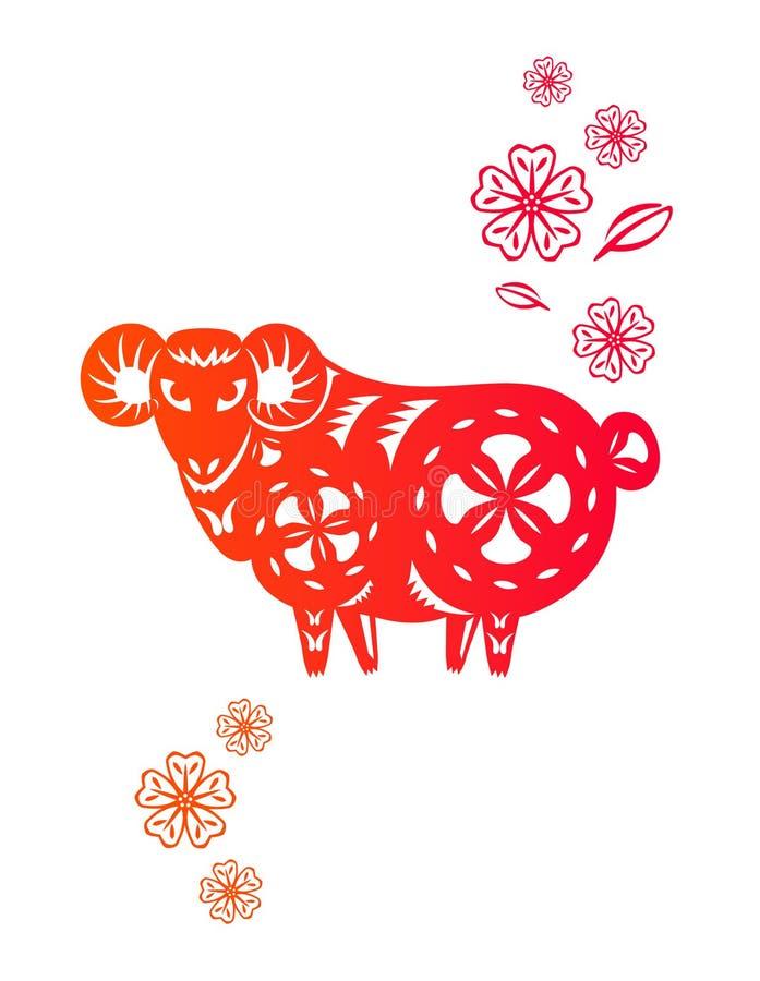 Chinees jaar van het Lam van Schapen stock illustratie