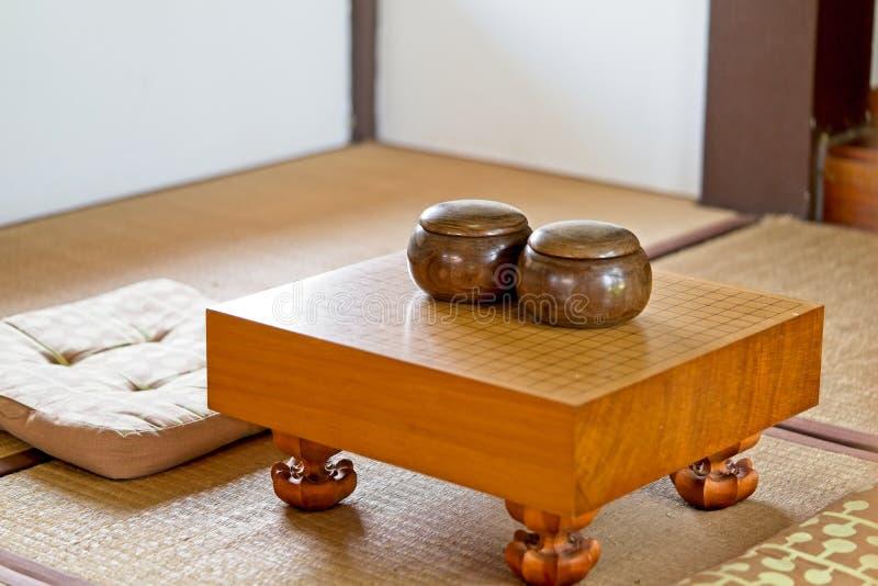Chinees, Japan, GAAT het Koreaanse raadsspel Ga of wei-chi - traditioneel Aziatisch de raadsspel van WeiQi Leeg ga spelraad stock afbeelding