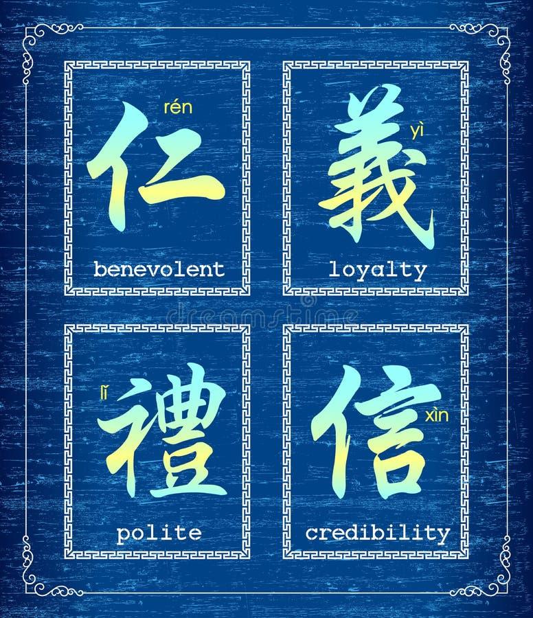 Chinees karaktersymbool over ethiek vector illustratie