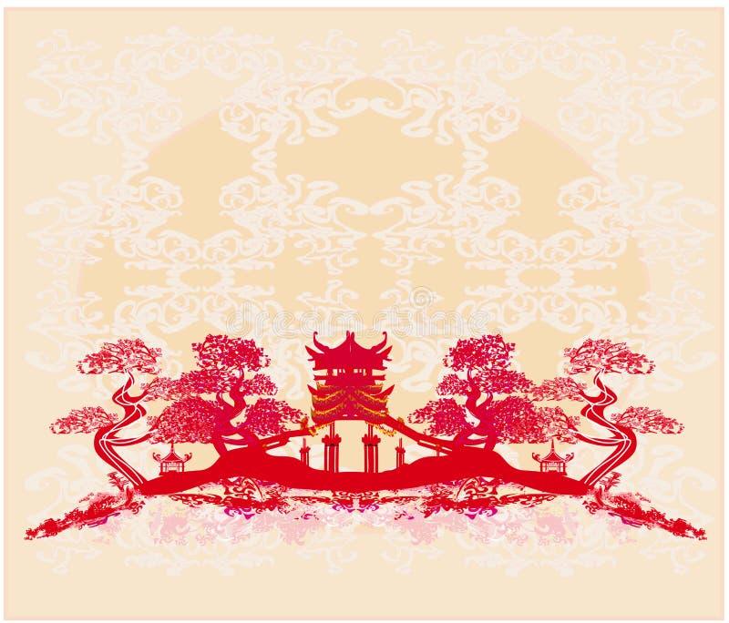 Chinees landschap - abstracte oude gebouwen royalty-vrije illustratie