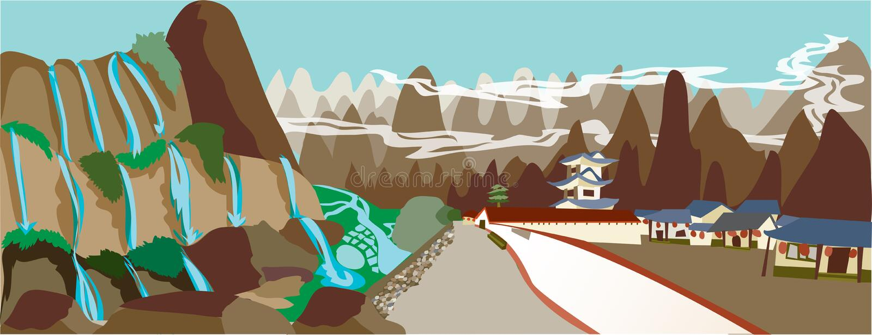 Chinees landschap ial vector illustratie