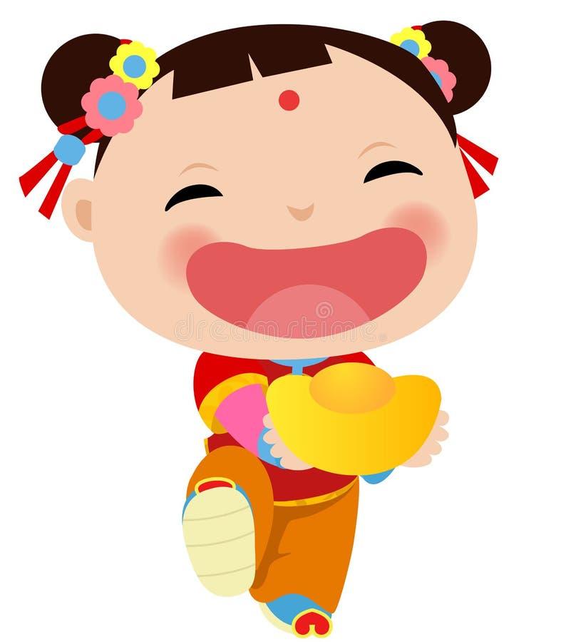 Chinees Meisje - Gelukkig Chinees Nieuwjaar stock illustratie