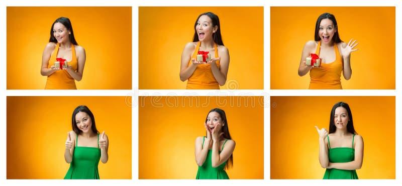 Chinees meisje met een gift stock foto's