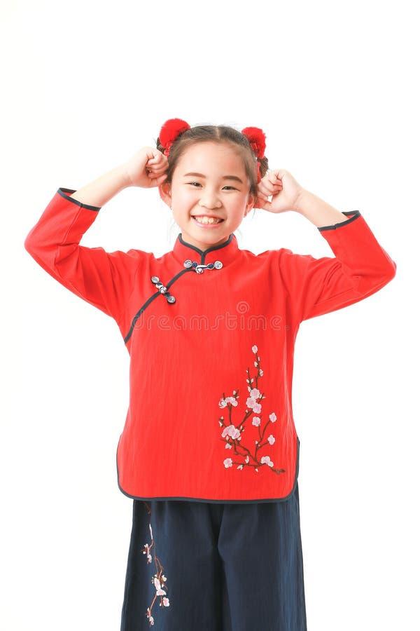 Chinees meisje op witte achtergrond royalty-vrije stock foto's