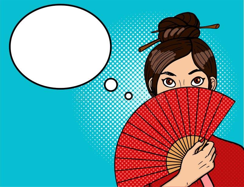 Chinees meisje in pop-art Jonge sexy vrouw met een mooie ventilator Eetstokjes op het hoofd vector illustratie