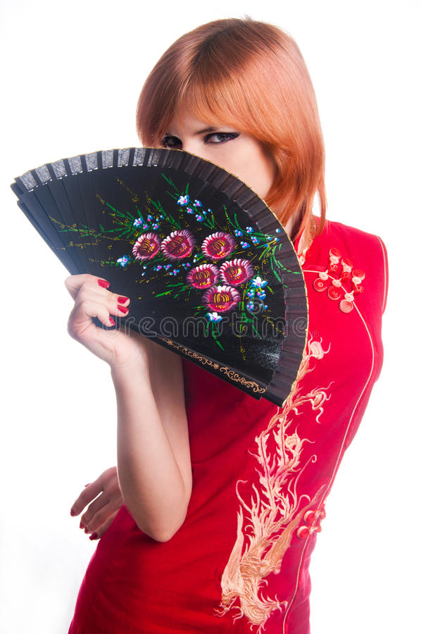 Chinees meisje in rode kleding royalty-vrije stock afbeelding