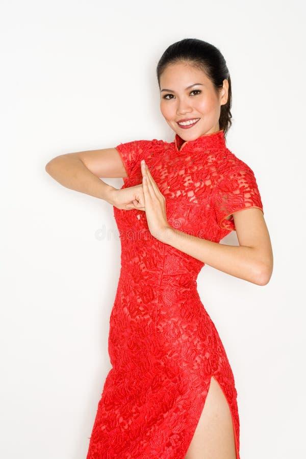 Chinees meisje in traditionele kleding royalty-vrije stock afbeelding