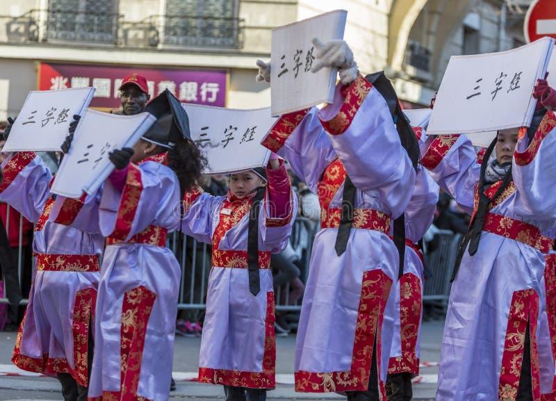 Chinees Meisjeportret - Chinese Nieuwjaarparade, Parijs 20 stock afbeelding