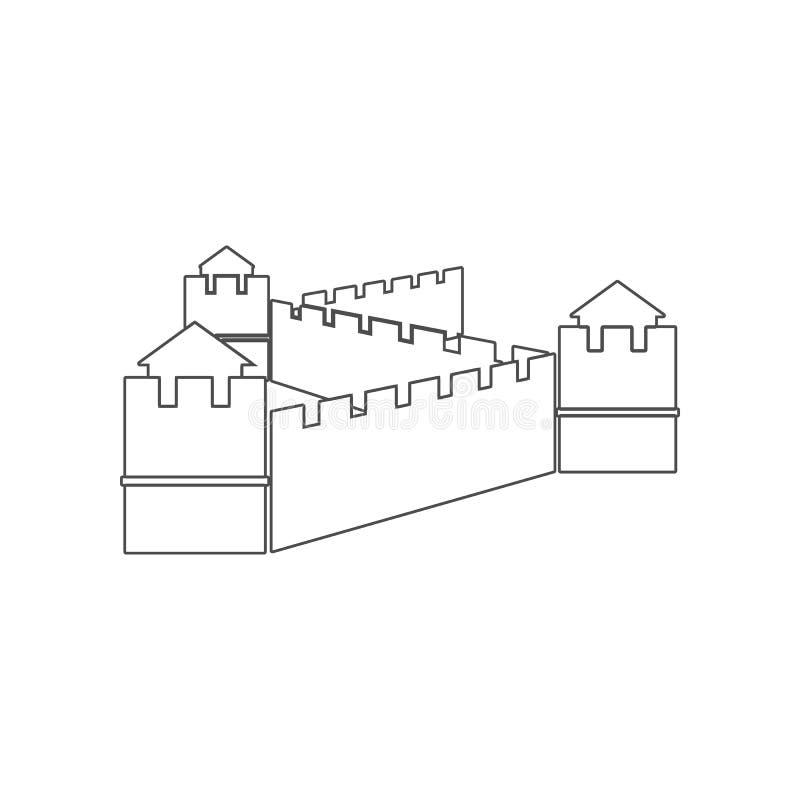 Chinees muurpictogram Element van China voor mobiel concept en webtoepassingenpictogram Overzicht, dun lijnpictogram voor website royalty-vrije illustratie