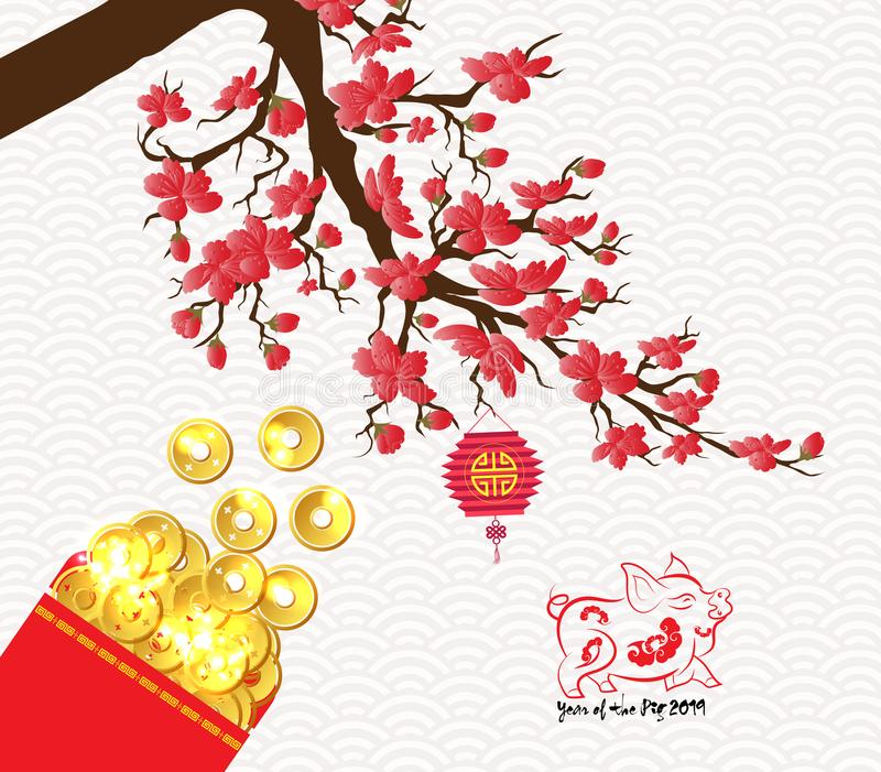 Chinees nieuw de bloesem rood pakket van de jaar 2019 pruim vector illustratie