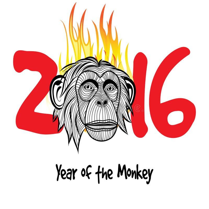 Chinees nieuw jaar 2016 (Aapjaar) stock illustratie