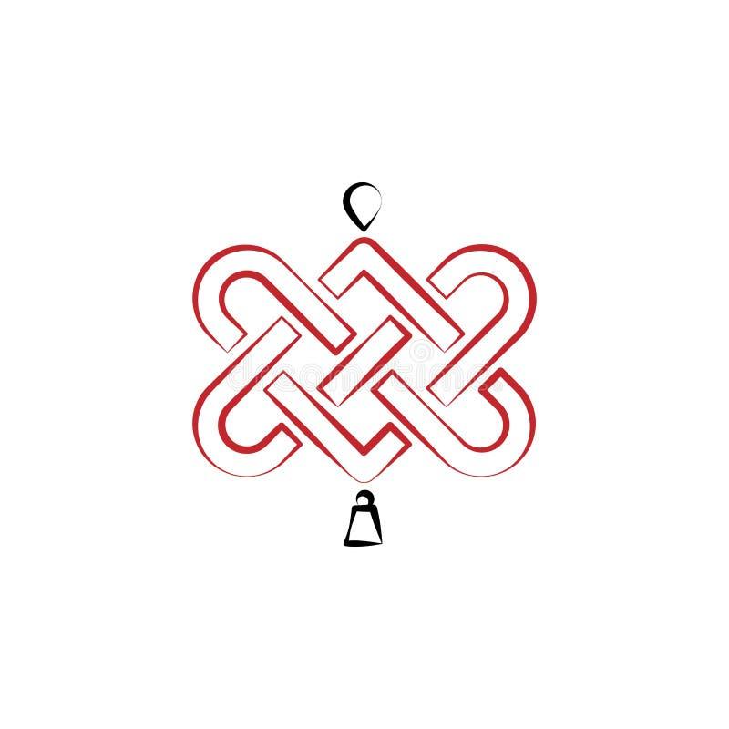 Chinees nieuw jaar, knooppictogram Kan voor Web, embleem, mobiele toepassing, UI, UX worden gebruikt vector illustratie