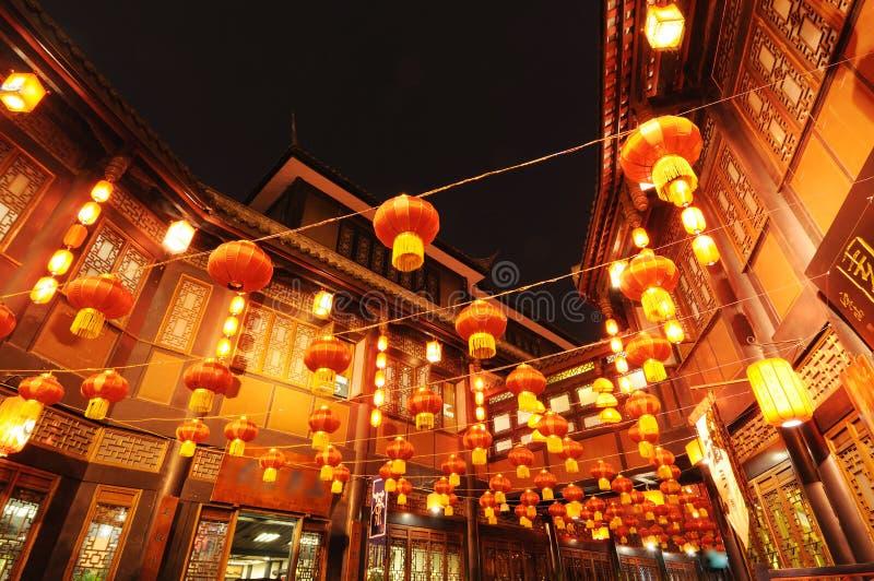Chinees nieuw jaar in oude straat Jinli royalty-vrije stock foto's