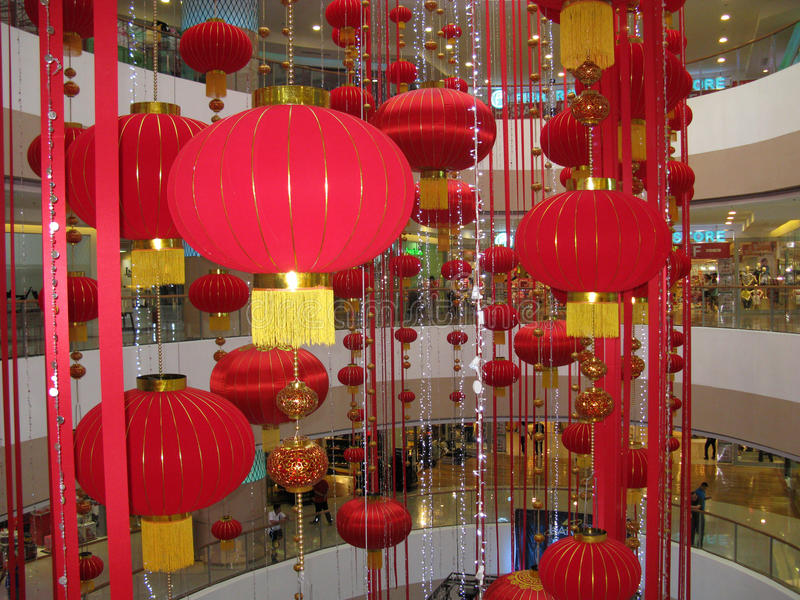 Chinees Nieuwjaar in Fisher Mall, Quezon-Stad, Filippijnen royalty-vrije stock afbeeldingen