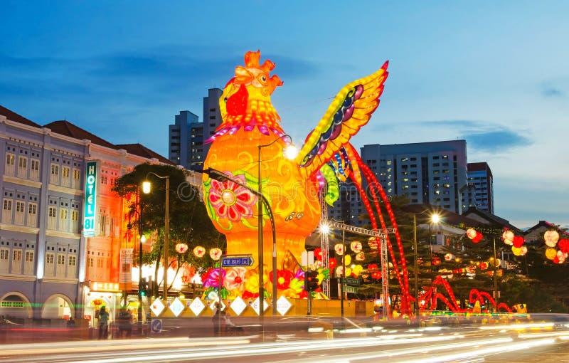 Chinees Nieuwjaar licht-op 2017 in Singapore royalty-vrije stock fotografie