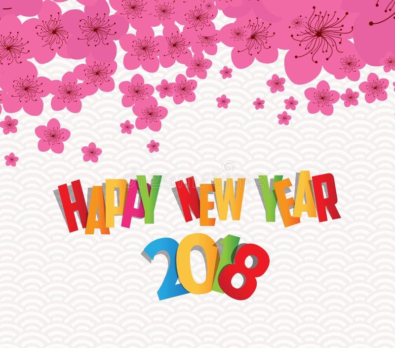 Chinees Nieuwjaar 2018 met pruimbloesem Kleurrijke achtergrond vector illustratie