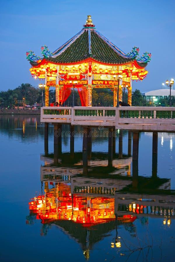 Chinees Paviljoen bij Nacht stock foto