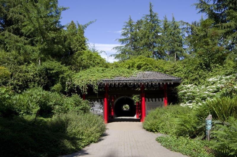 Chinees paviljoen in de Botanische tuin van Vancouver stock fotografie