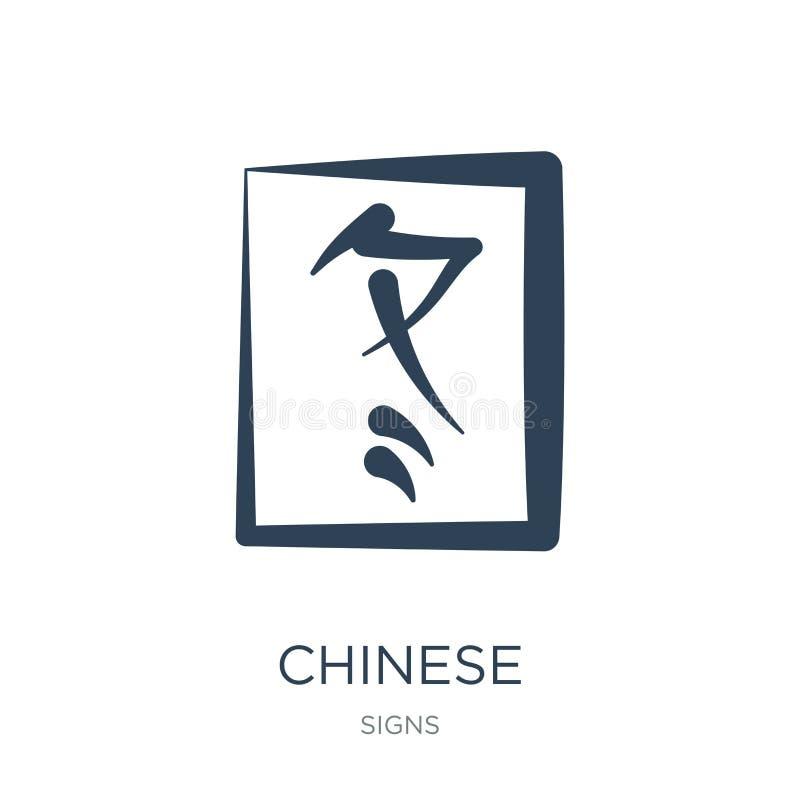Chinees pictogram in in ontwerpstijl Chinees die pictogram op witte achtergrond wordt geïsoleerd Chinees vectorpictogram eenvoudi royalty-vrije illustratie