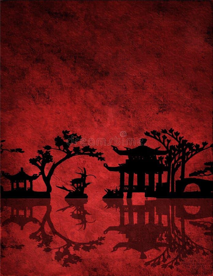 Chinees Rood Landschap stock illustratie
