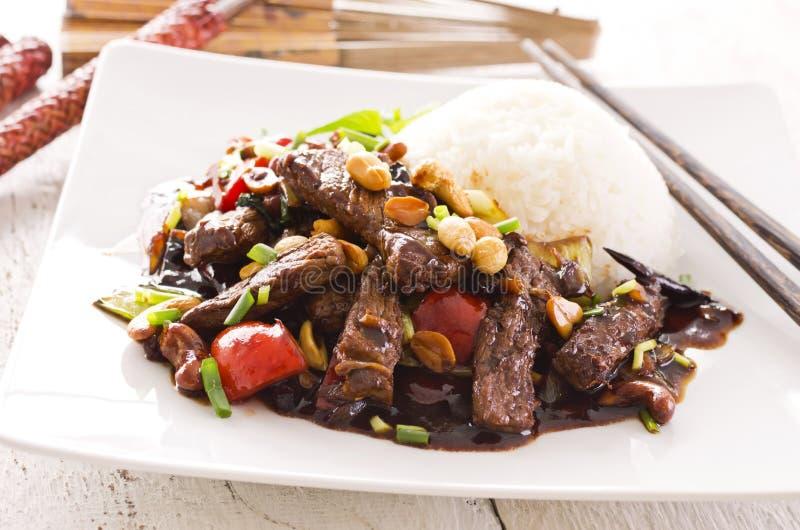 Chinees Rundvlees met Rijst stock foto's