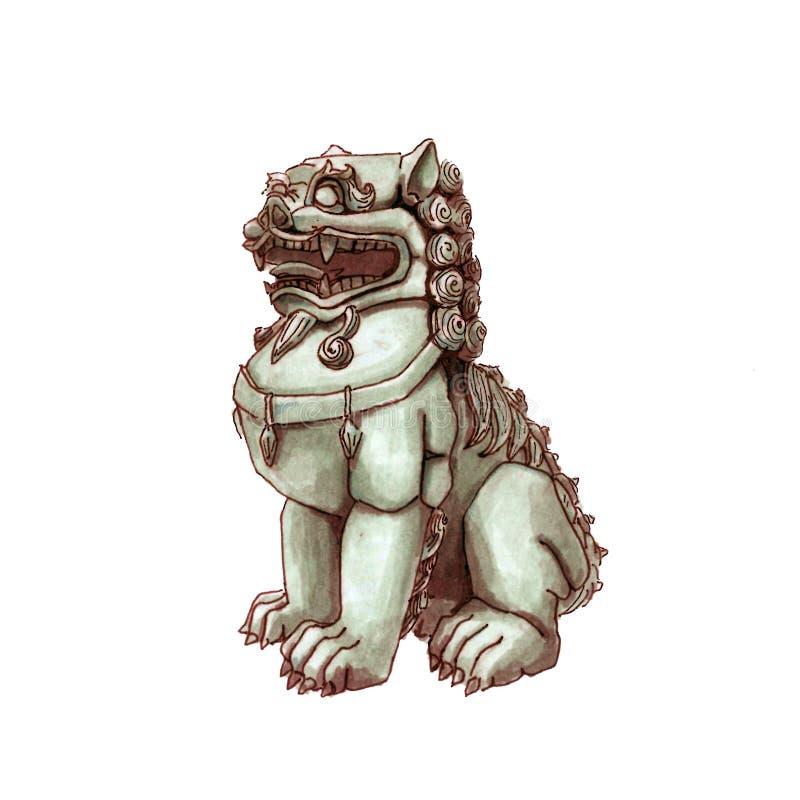 Chinees standbeeld van de draakbeschermer De hond van Foo azië watercolor China royalty-vrije illustratie