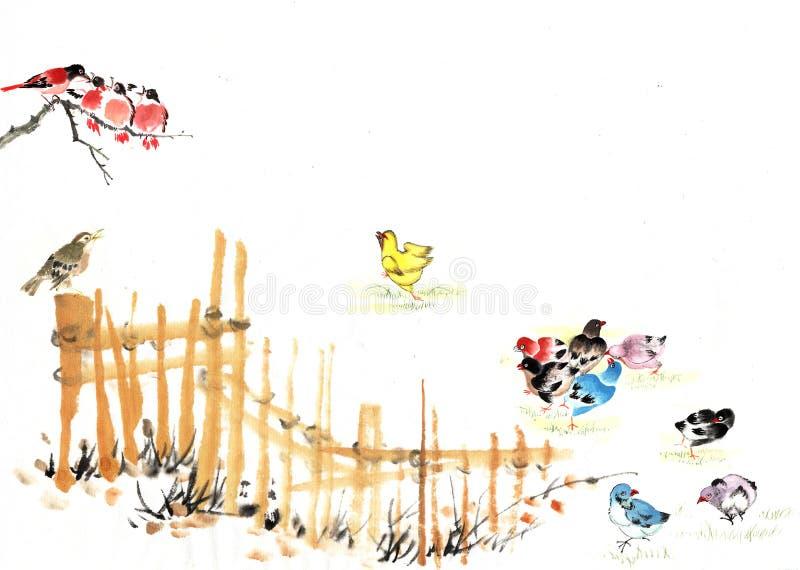 Chinees-- traditioneel platteland stock illustratie