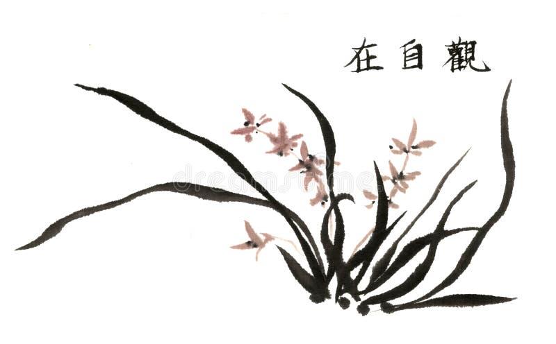 Chinees traditioneel voornaam schitterend decoratief hand-China, inktorchidee royalty-vrije illustratie
