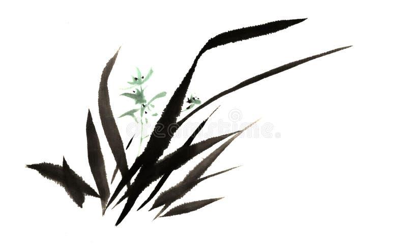 Chinees traditioneel voornaam schitterend decoratief hand-China, inktorchidee stock illustratie