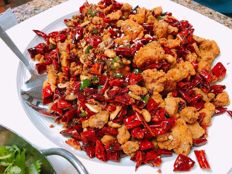 Chinees Voedsel, Chongqing Spicy Chicken stock afbeelding