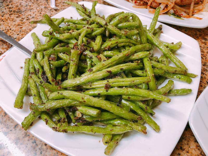 Chinees Voedsel, Droog Fried Green Beans royalty-vrije stock foto's