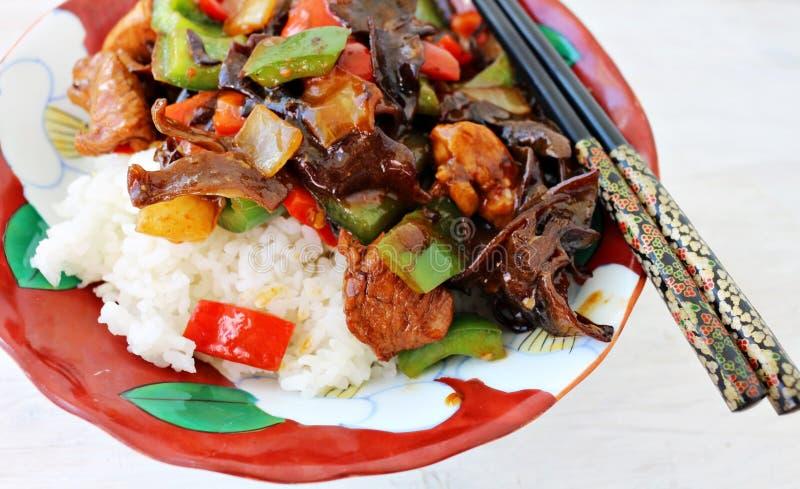 Chinees voedsel met de paddestoel van het wolkenoor royalty-vrije stock afbeelding
