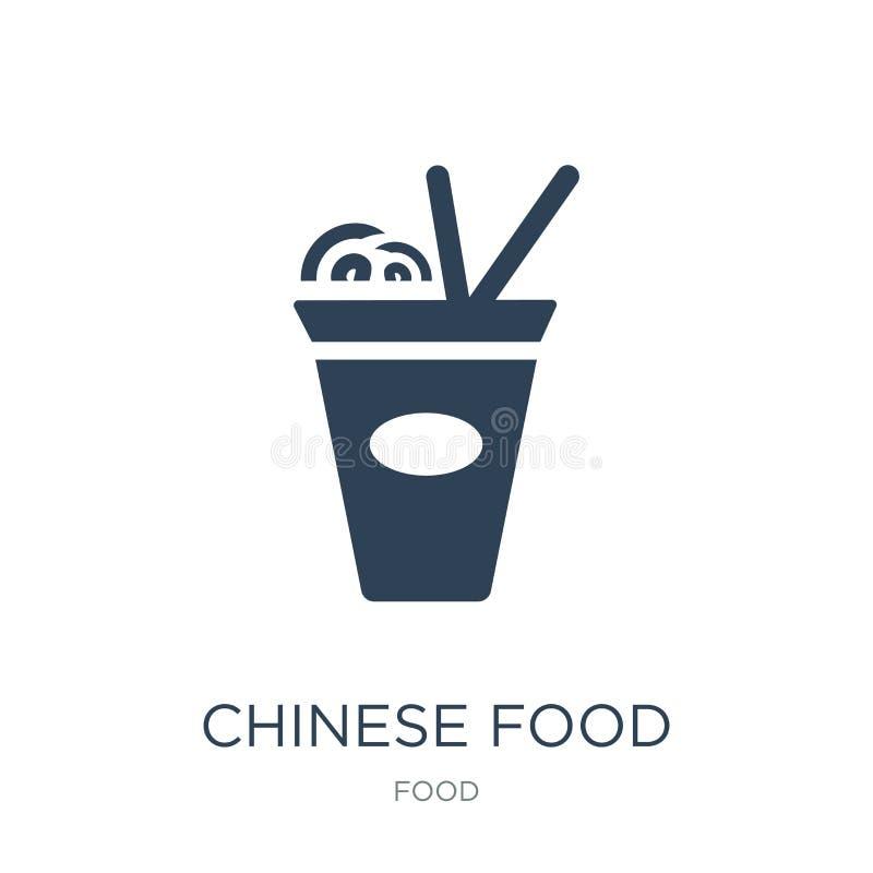 Chinees voedselpictogram in in ontwerpstijl Chinees die voedselpictogram op witte achtergrond wordt geïsoleerd Chinees eenvoudig  stock illustratie