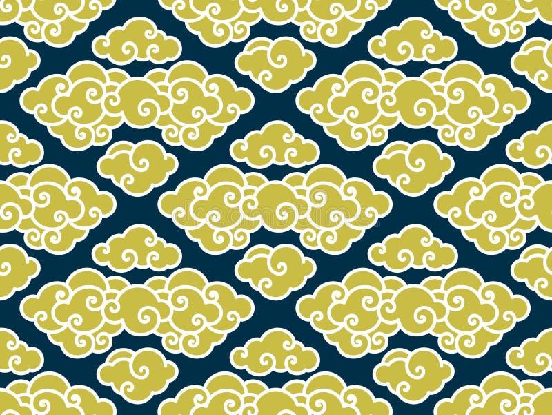Chinees wolken traditioneel naadloos patroon stock illustratie