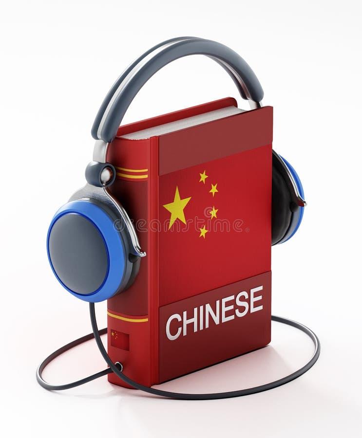 Chinees woordenboek met hoofdtelefoons geïsoleerd op witte achtergrond 3D-illustratie royalty-vrije illustratie