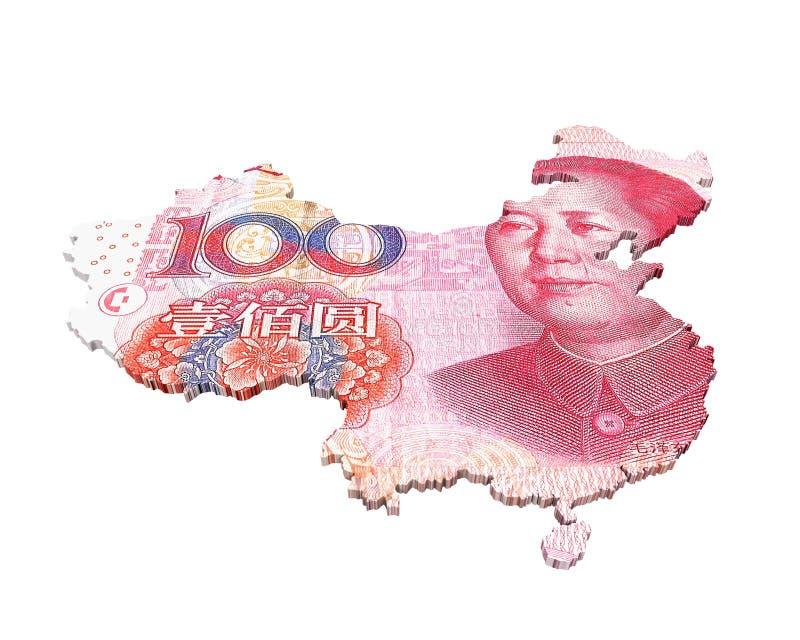 Chinees Yuan Map royalty-vrije illustratie