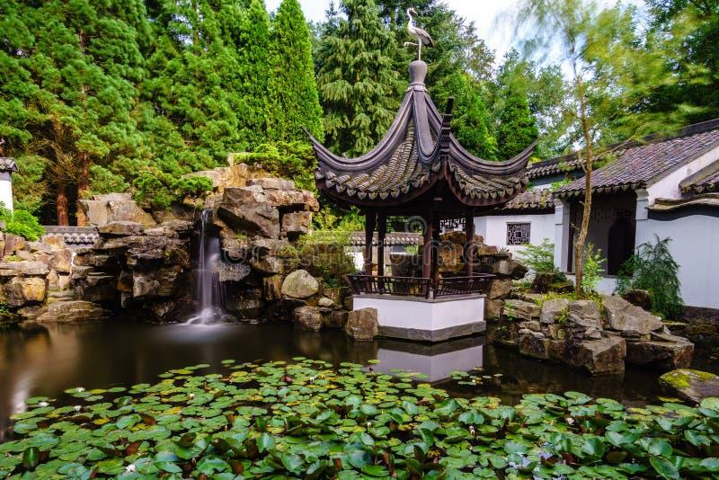 Chineese庭院在夏天 免版税库存图片