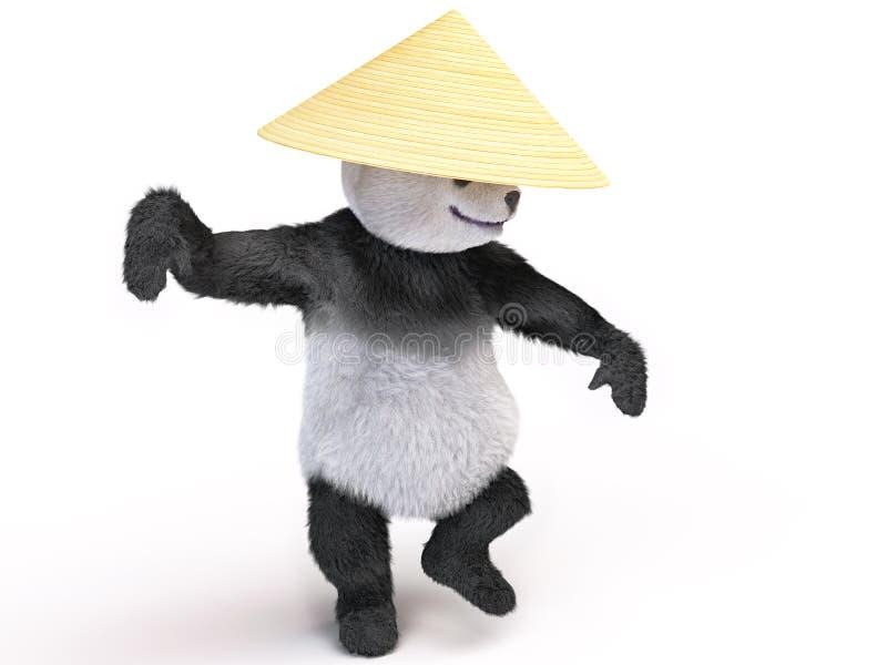 Chineese cheerful character panda fluffy teddy stock illustration