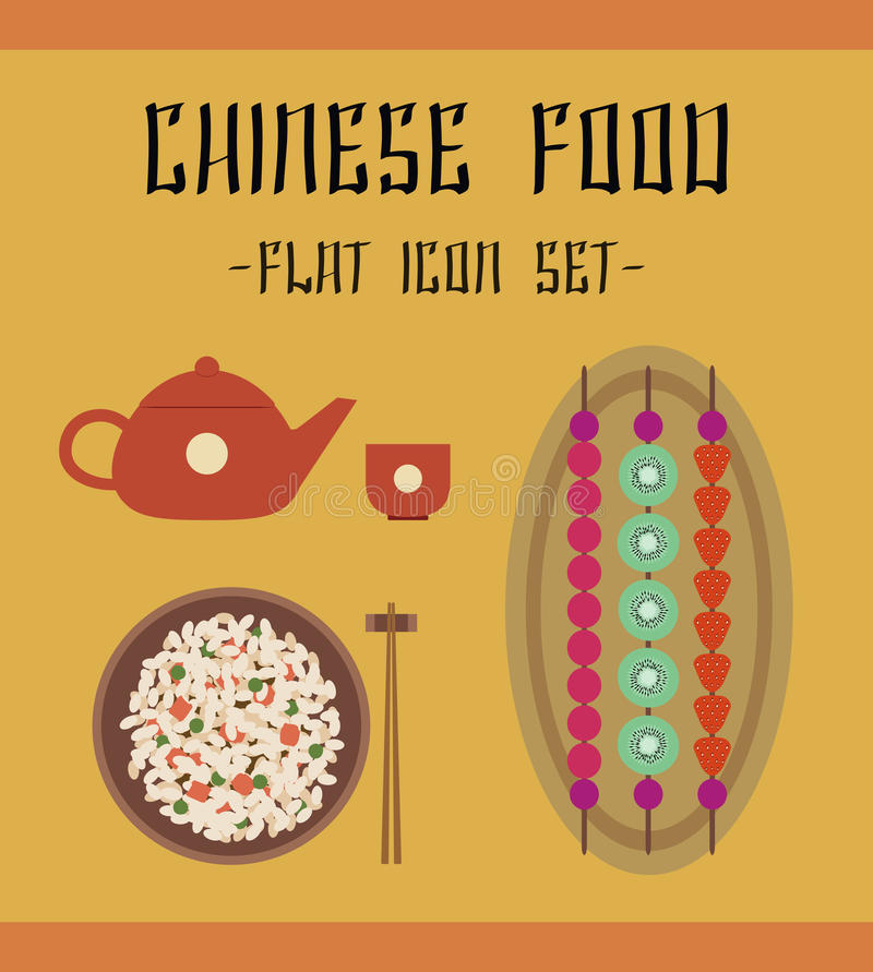 Chineese food icons. Colorful illustration of the dishes of the Chinese national cuisine. Set of simple vector traditional flat food icons: main course (fried vector illustration