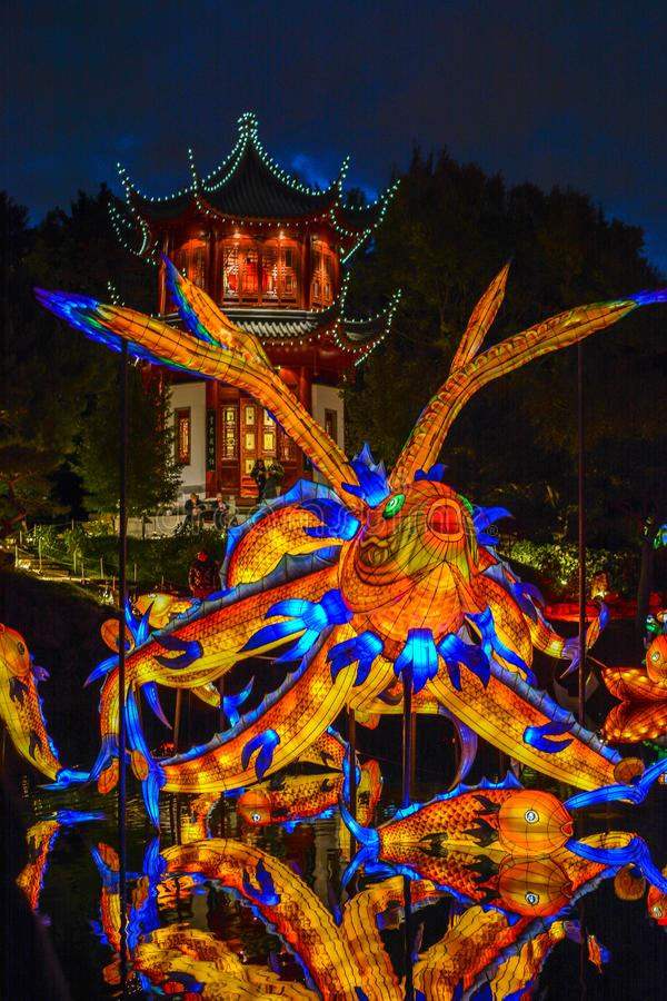 Chineese Sculptural Lighting at Gardens of Light, Montreal, Quebec, Canada. royalty free stock photo