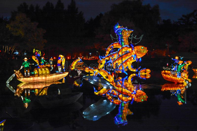 Chineese Sculptural Lighting at Gardens of Light, Montreal, Quebec, Canada. stock images