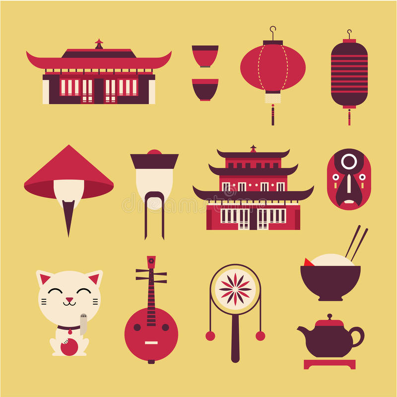 Chineese travel icons. Vector set of stylized chinese travel icons vector illustration