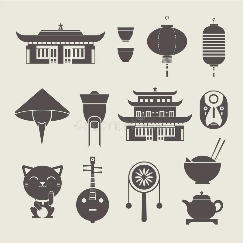 Chineese travel icons. Vector set of stylized chinese travel icons stock illustration