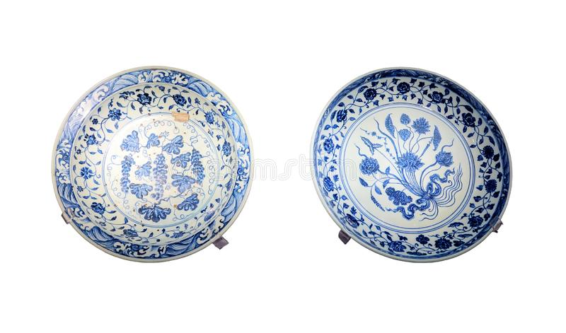 Chines ancient blue-and-white porcelain dish. The close-up of Chines ancient blue-and-white porcelain dish. It was collected at the the Imperial Palace Museum in royalty free stock photography